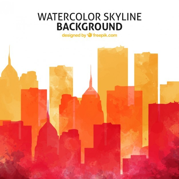 Watercolor skyline background