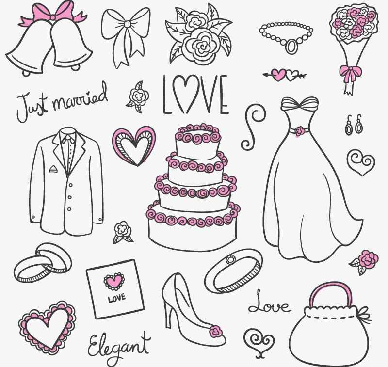 23 Wedding design elements vector material
