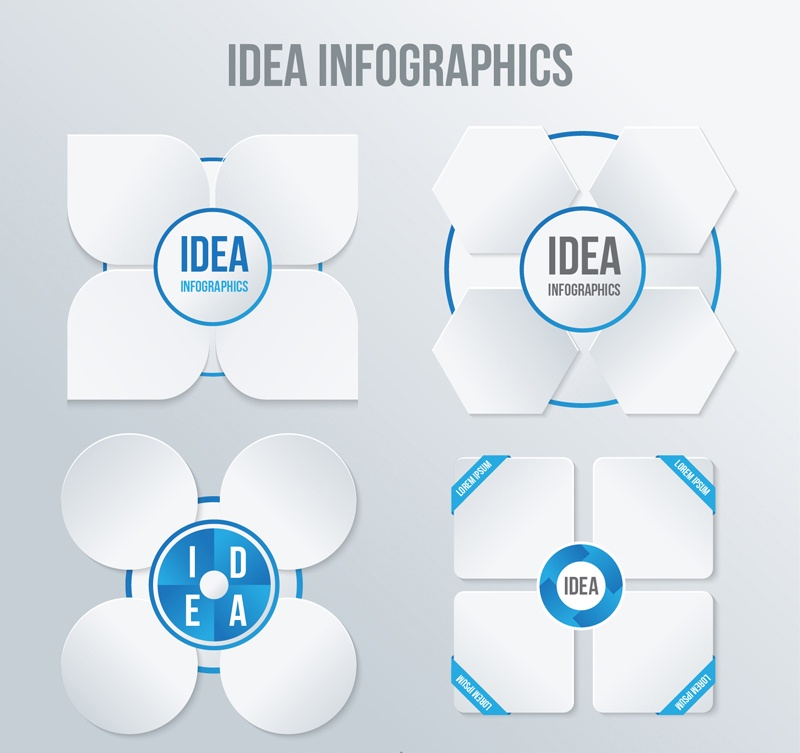 4 white flower infographic design elements