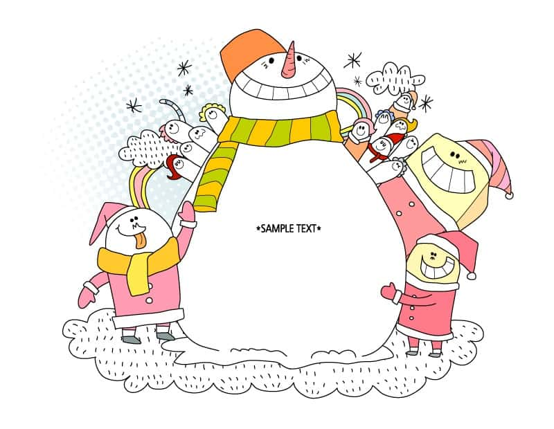 Winter Snowman Vector cartoon illustration
