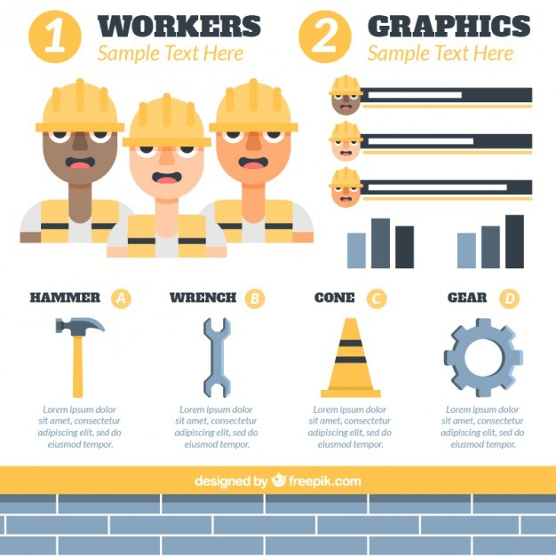 Workers and construction elements for infography