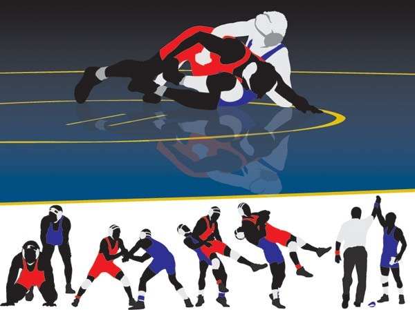 Wrestling vector graphics
