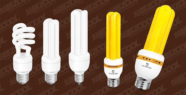 Yellow and white energy-saving lamps vector material