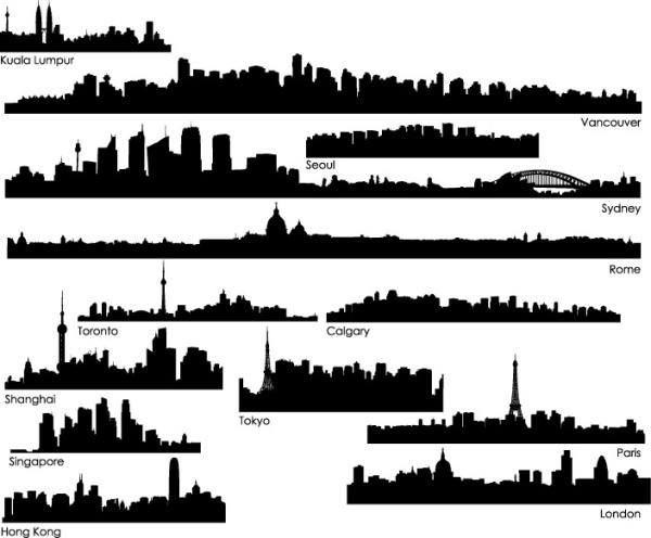 the world's cities silhouette vector material -1