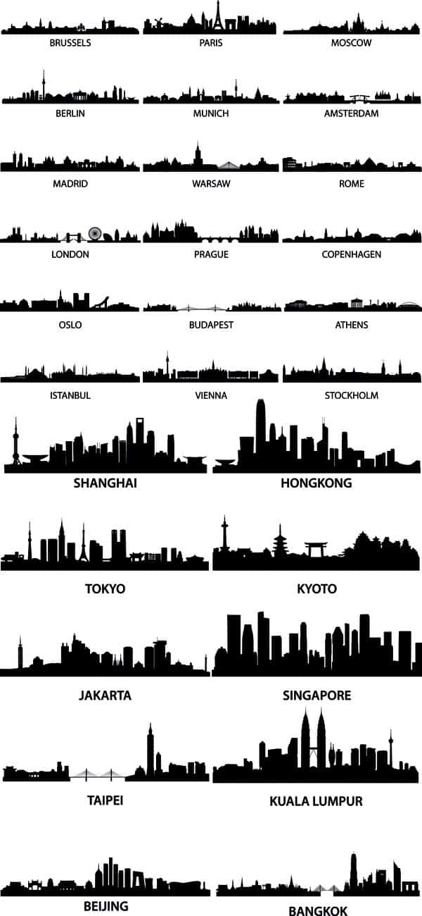 the well-known city silhouette – vector material