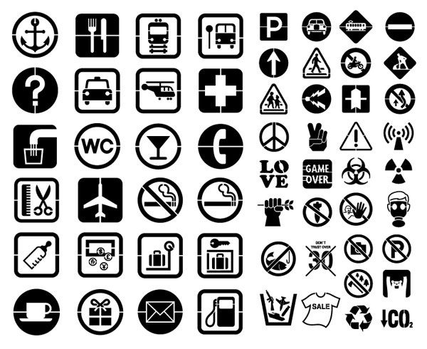 Various silhouette element vector material – public signs (58 elements)