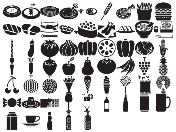 Various silhouette element vector material – Food and Drink (59 elements)