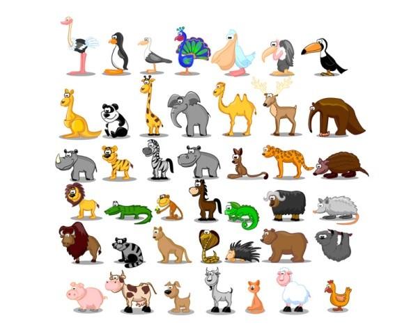 cute cartoon animals vector material 01