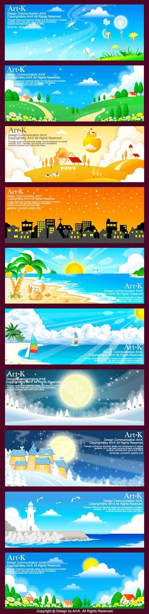 10 models of hand-painted style vector landscape material