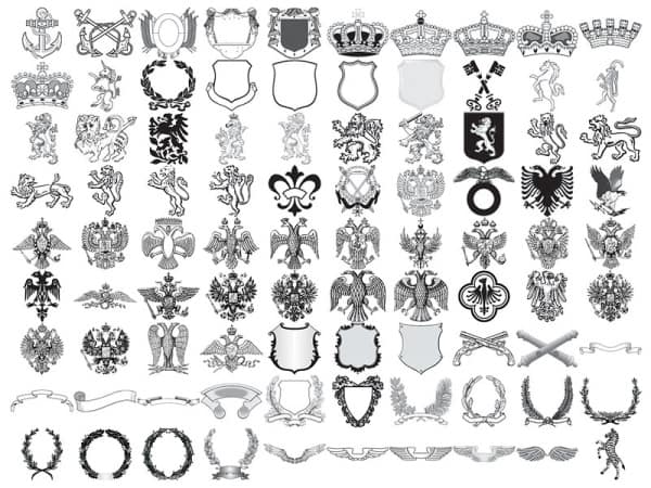 90 models of European royal element vector material