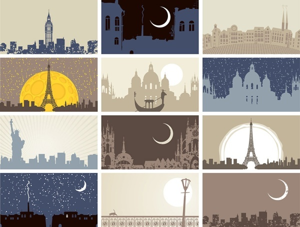 the famous city landmarks silhouette 5