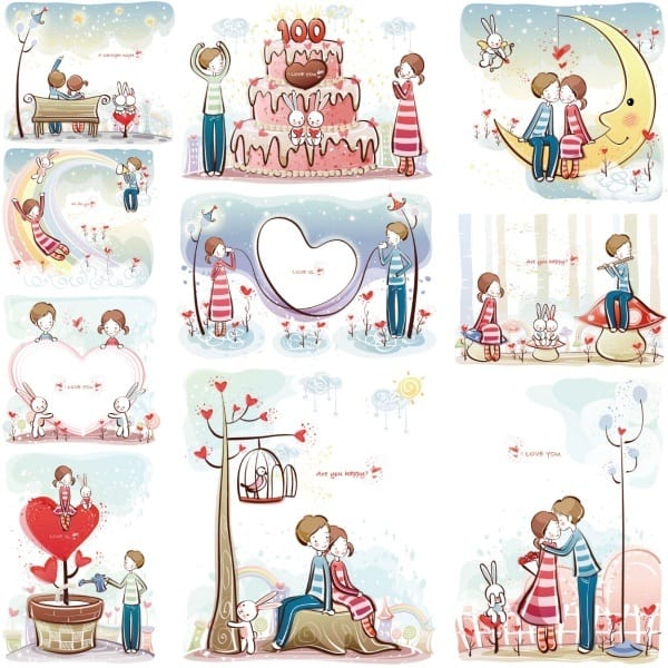 Love young lovers vector material 31-40