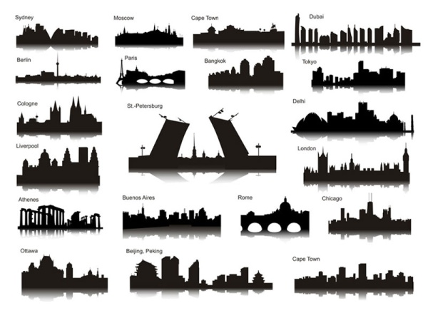 the famous city landmarks silhouette 2