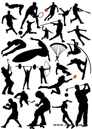 all kinds of sports action figures silhouette vector material