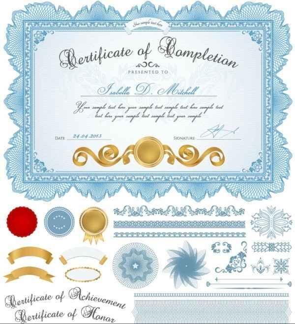 02 certificate template vector material