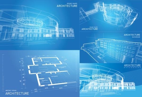 Blue line art perspective diagram