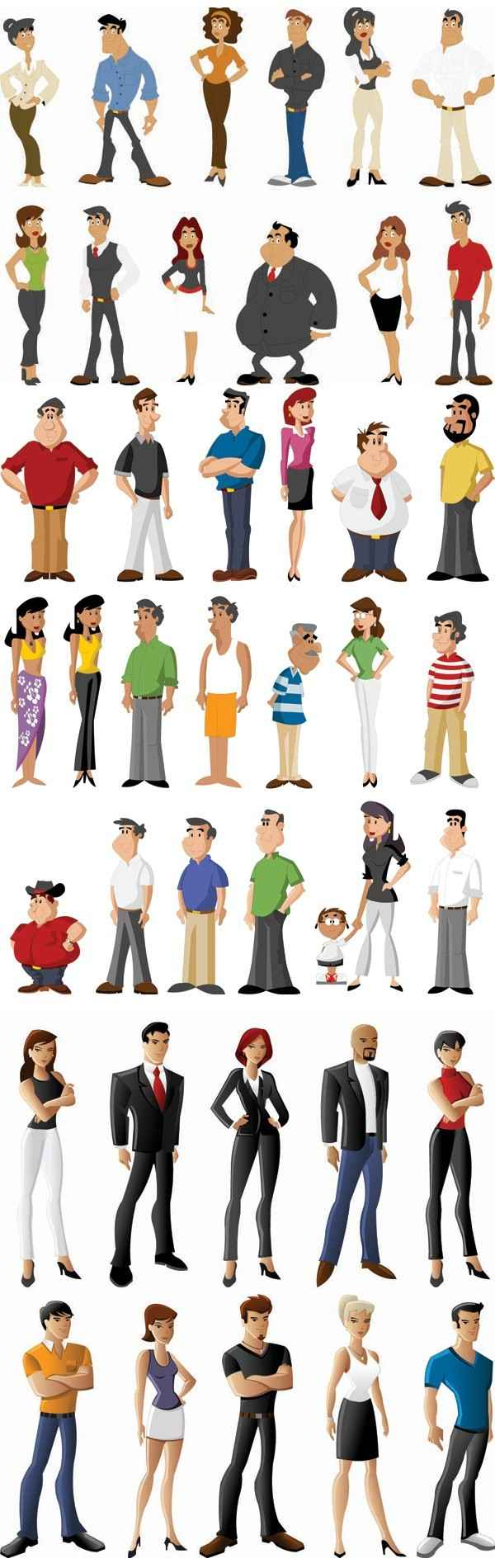 all kinds of cartoon characters