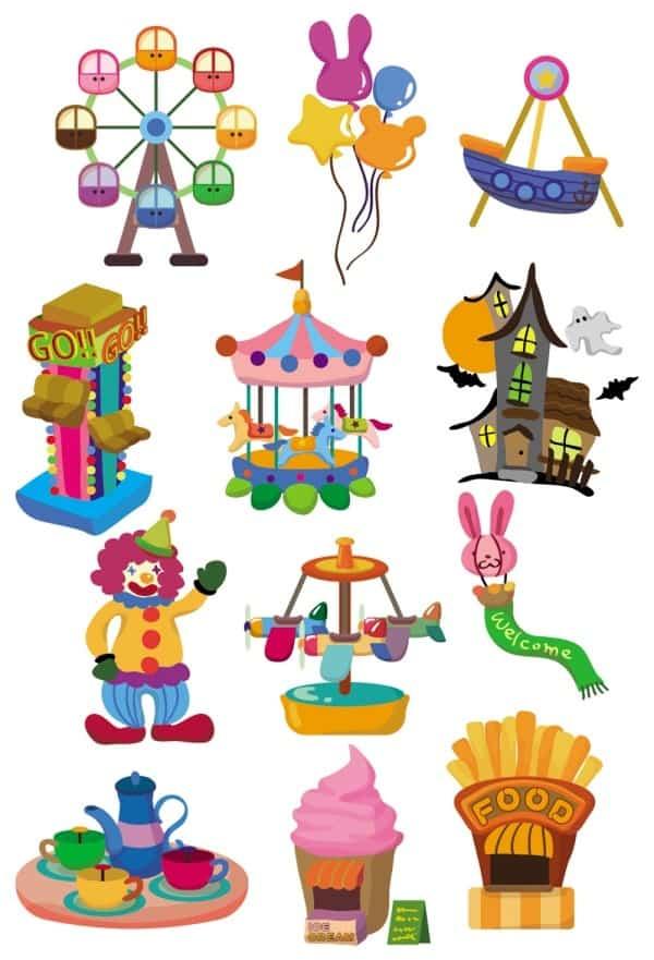 Lovely playground cartoon icon 02