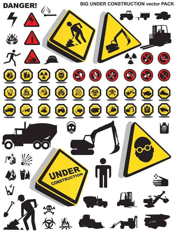 construction Note that security icon vector material