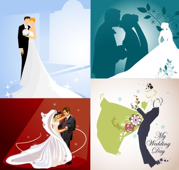 Four married wedding theme illustrator vector material
