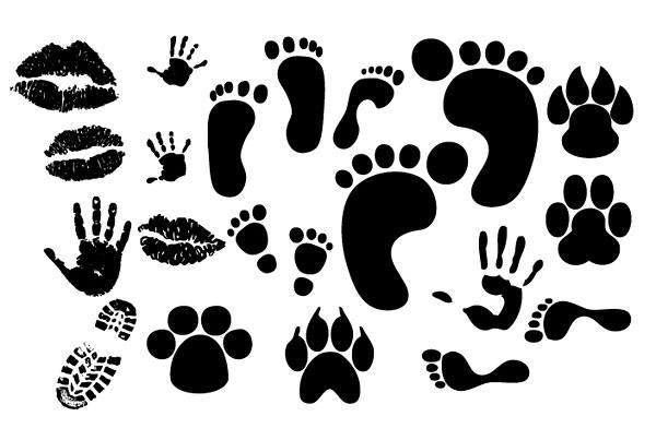 Lip footprints handprints shoeprint vector material