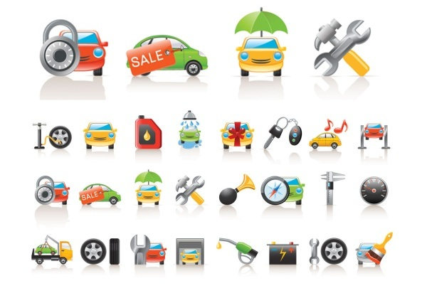the car icon vector material