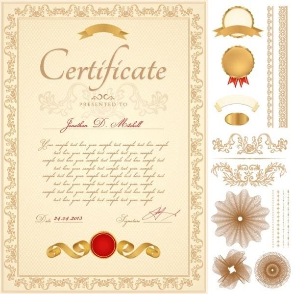 01- certificate template vector material