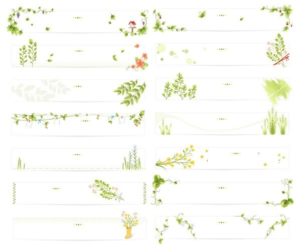 leaves, vines, flowers and decorative pattern vector material