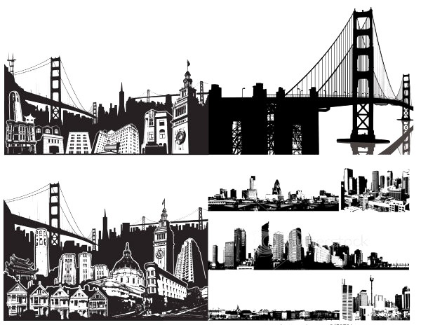 black and white city vector illustration material