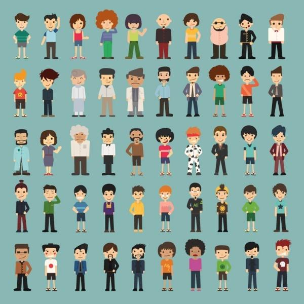50 models cartoon character