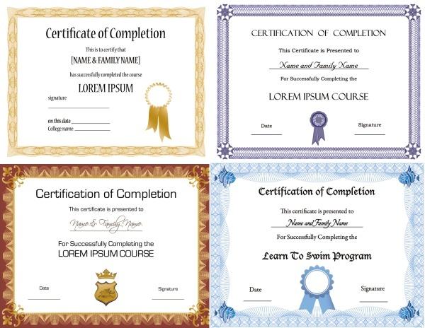 beautifully certificate template vector material -2