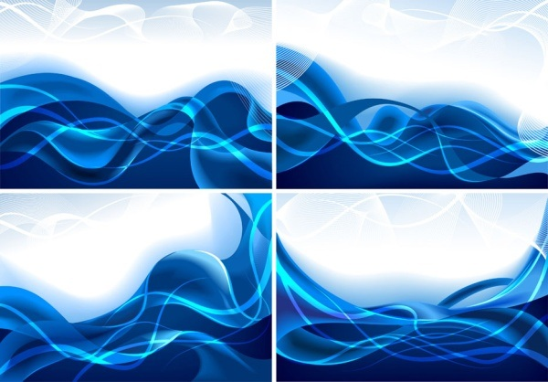 Blue dynamic lines of vector material