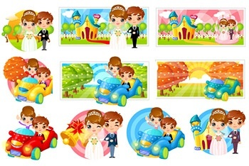Lovely bride and groom cartoon image of vector elements
