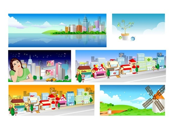 cartoon landscape vector Tenth