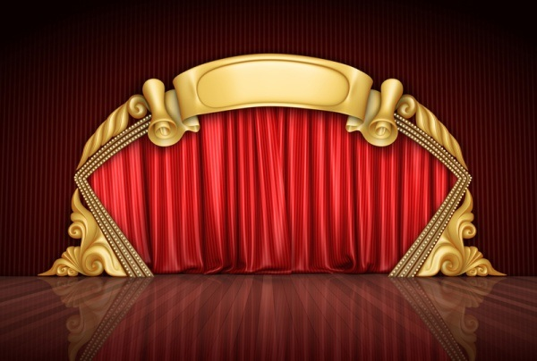 red curtain and stage high-definition picture material