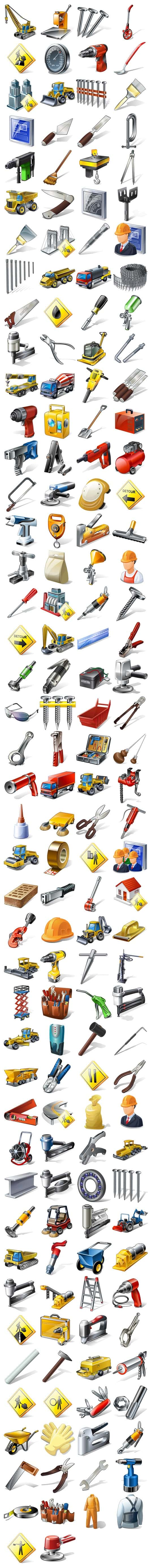 Engineering equipment, tools, people and goods icon series
