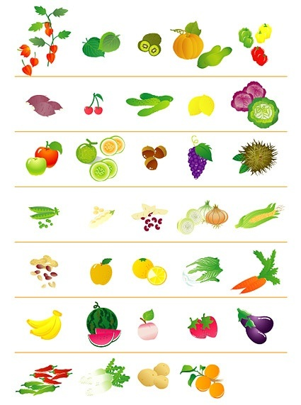 Fruits and vegetables icon vector material