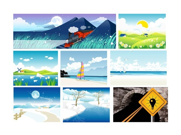 Vector material of the eight natural scenery