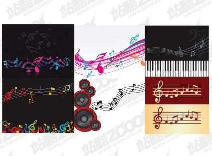 6 music theme vector material