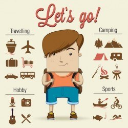 A child goes camping with fantastic accessories Vector | Free Download