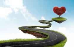 Air heart-shaped picture material tree urban roads