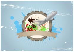 Aircraft and creative badge vector
