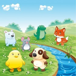 Animals at the meadow Vector | Free Download
