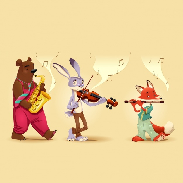 Animals playing music instruments Vector | Free Download