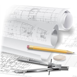 Architectural drawings and vector coffee