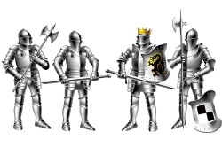 Armed with weapons of knights vector
