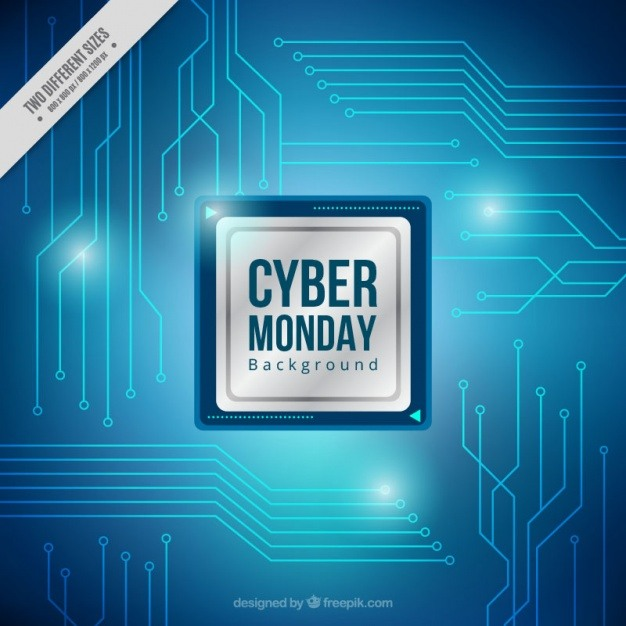 Background of cyber monday with blue circuits Vector | Premium Download
