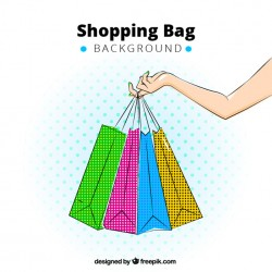 Background of hand holding colorful shopping bags Vector | Free Download