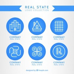 Blue real state logo template Vector | Premium Download