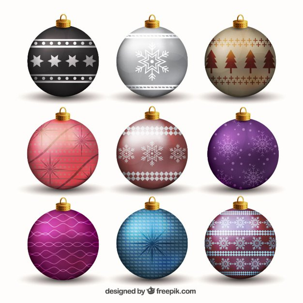 Bright christmas balls set Vector | Free Download